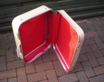 Vintage white plastic suitcase red plastic interior straps and pocket