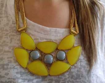 Bib necklace, statement necklace yellow like the sun