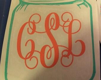 Monogrammed mason jar sticker