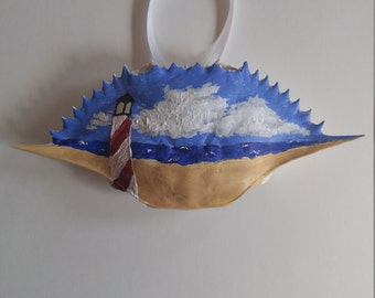 Hand Painted Crab Shell Ornament