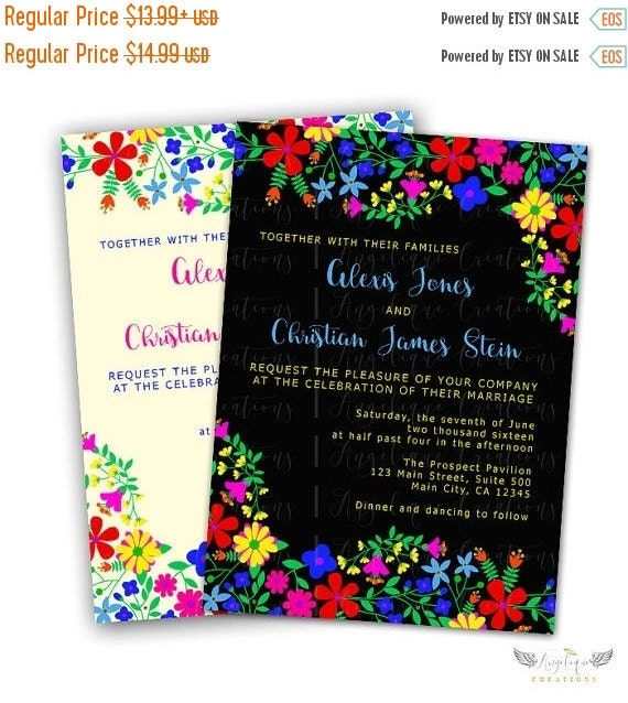 ON SALE Mexican Embroidery Inspired Wedding Invitations & Blank Thank You Card to match