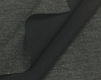 Cotton Double Face Jersey Knit Fabric (Wholesale Price Available By The Bolt) USA Made Premium Quality - 1046PR9 Charcoal Black - 1 Yard