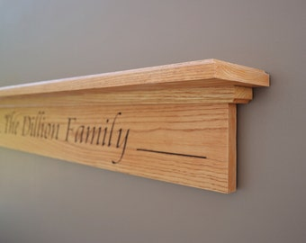 "Fireplace Mantel Floating Shelf Display Shelf Family Name Family Wall Decor Mantel Shelf 36"""