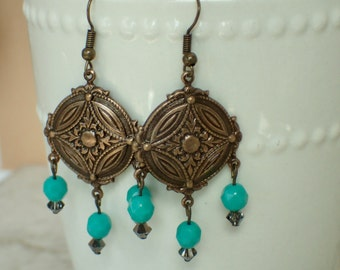 Turquoise and Brass Beaded Dangle Earrings