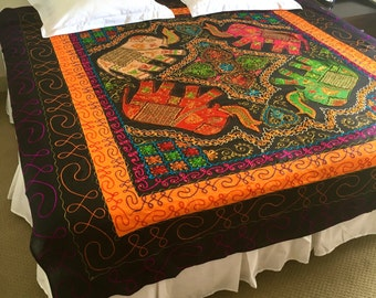 Handmade Bed Cover Embroidered Elephants Indian Tapestry  Hand Stitched