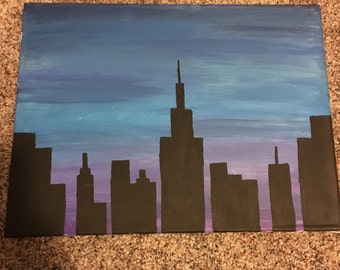 skyline acrylic painting