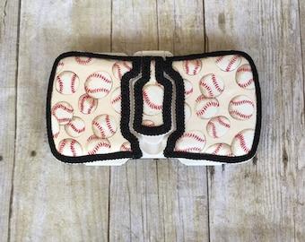 Vintage baseball travel baby wipe case, flip top, diaper bag, diaper bag, baby shower gift, wipe case