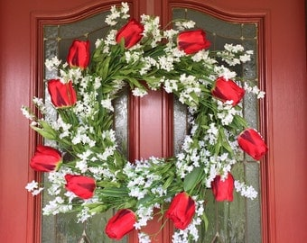 Red Tulip & Lily of the Valley Wreath