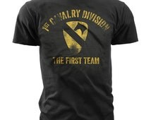 Men's Army T-Shirt - US Army 1st Cavalry - The First Team Retro