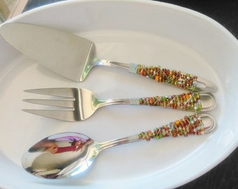 BEADED SILVERWARE,Beaded Spoon,Jeweled Serving Utensils,Beaded Silverware,Beaded Serving Utensil,Jeweled spoon,Wire Beaded serving spoon