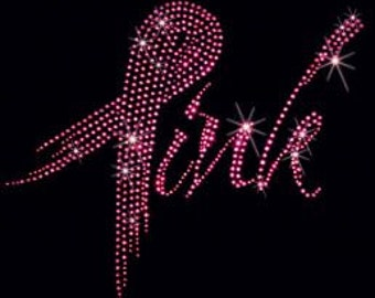 PINK RIBBON BLING breast cancer awareness T shirt  or V neck 9X8