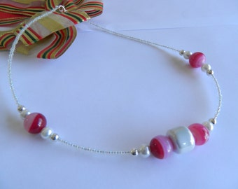 Pink and white beaded necklace