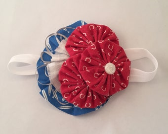 Lucky Horseshoe Red White and Blue Flower Headband
