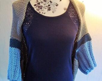 Sweater denim jacket Cardigan blue light blue wool cotton size S-M