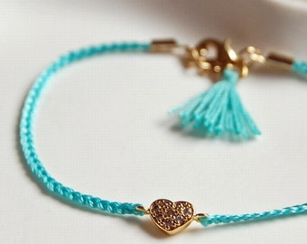Turquoise heart friendship bracelet