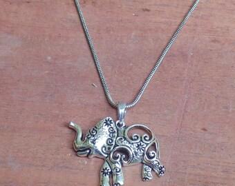 Elephant Pendant | Animals Pendant | Ethnic Silver Plated Jewelry | Beach Pendant | Metal Jewelry | Brass Jewellery | Gift Pendant | P6