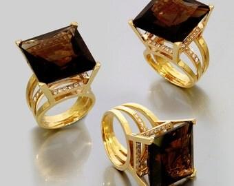 Smoky Quartz statement ring,Smoky Quartz diamonds ring,14k solid gold Smoky Quartz ring,Smoky Quartz wedding ring,huge big Smoky Quartz ring