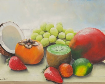 Print of oil painting from me made, still life, fruits