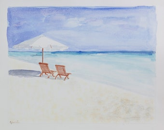 Watercolor print by me made, beach