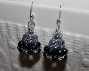 Brown & grey beaded handmade earrings; beadweaving