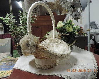 Handmade Vintage Shabby Chic Flowergirl Basket