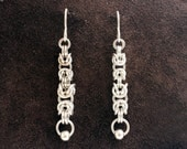 Byzantine Taper Chainmail Earrings - Sterling Silver