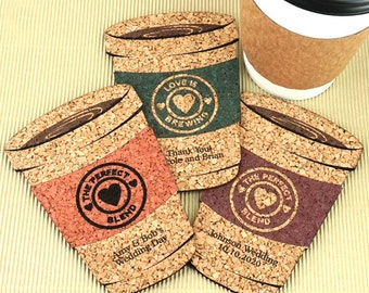 Wedding Favor Coasters, Personalized Coffee Cup Shaped Cork Coaster, Cork Coaster Wedding Favors - Set of 12