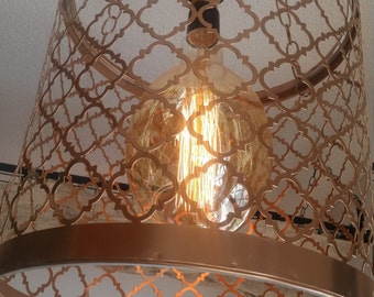 Copper Chandelier with large Edison bulb