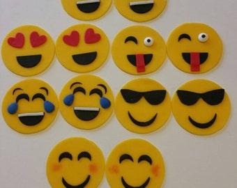 Emoji cupcake toppers.
