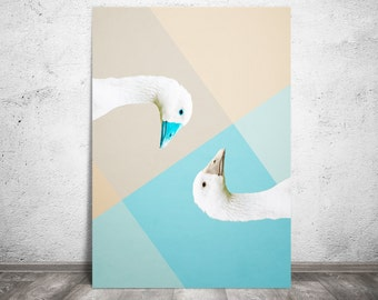 Goose Print, Two Goose Print, Duality Poster, Animal Print, Pastel Wall Art, Goose Poster, Beige and Blue, Decor for Living Room