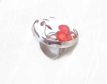 Shabby red ring, shabby roses ring, big ceramic ring, ceramic vintage ring, ceramic sterling ring, statement roses ring.