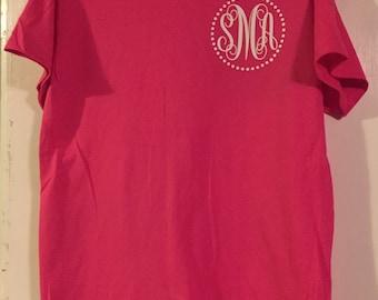 Ladies Monogram T-Shirt with circle
