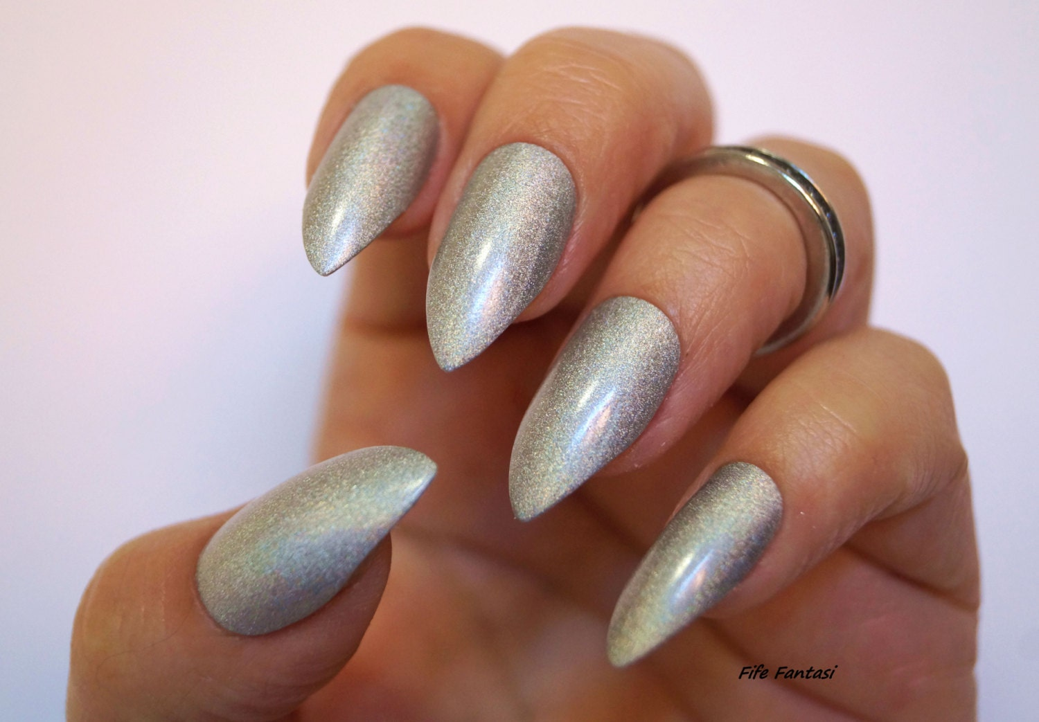Holographic stiletto nails grey nails coffin nails fake zoom prinsesfo Image collections