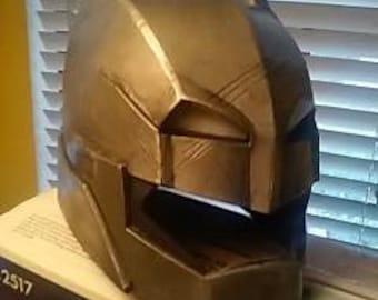 batman vs superman, armored batman style helmet with lighted eyes. #batmech #helmet #batfleck