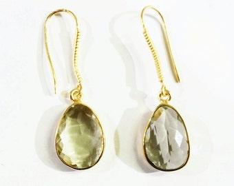 Green Amethyst Earrings in Vermeil