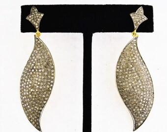 Pave Diamonds in sterling silver Earrings