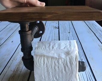 Rustic Modern toilet paper holder, Gas pipe toliet paper holder, industrial toilet paper holder
