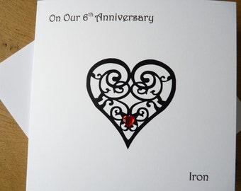 6th wedding anniversary card iron 6th anniversary gift