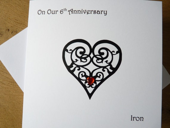 6th Wedding Anniversary Traditional Gifts: 6th Wedding Anniversary Card Iron 6th Anniversary Gift