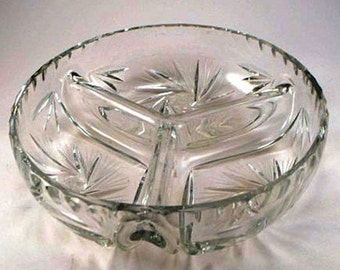 1920s Pinwheel Pattern Blown Glass Divided Serving Bowl