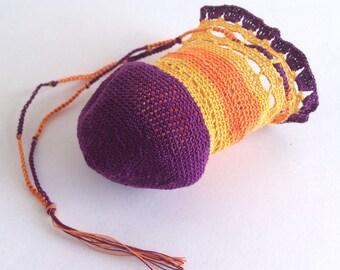Sweet drawstring bag in purple, gold and orange