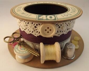 Mulberry Wine Cotton Reel Storage Pot