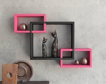 DecorNation Wall Mounted Shelf Set of 3 Floating Intersecting Storage Display Wall Shelves - Pink & Black