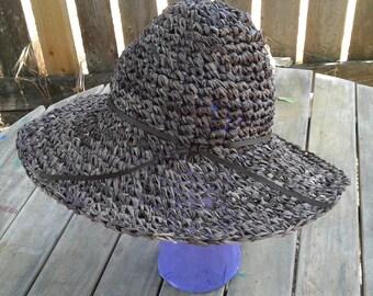 Brown sun hat, beach hat, natural fiber sun hat, beach hat, raffia hat