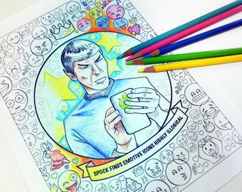 spock art print star trek print nerdy funny adult coloring sheet instant download printable - Beyonce Coloring Book