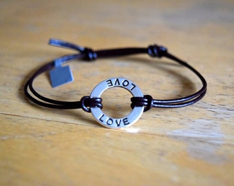 Love Charm Bracelet, Silver Circle Love Charm, Leather Cord, Adjustable, Love, Friendship,