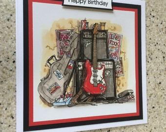 "Handmade Happy Birthday 3D decoupage red electric guitar rock music card 6"" x 6"" square rocker rock band"