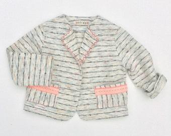 Striped silk linen blend jacket (special order)