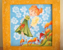 Nursery painting Original painting Whimsical painting Small artwork Painting for girls Nursery wall art Funny painting Girls room decor