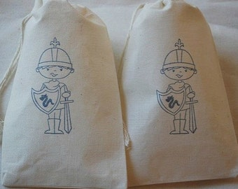 10 Knight muslin cotton party favor bags 4x6 inch - you choose ink color and bag size - birthday party favor bags